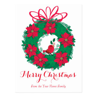 Poinsettia Christmas Wreath Postcard