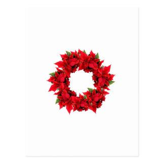 Poinsettia Christmas Wreath Postcard