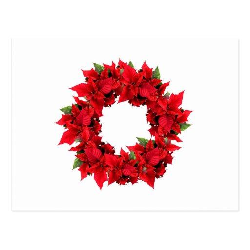 Poinsettia Christmas Wreath Post Cards