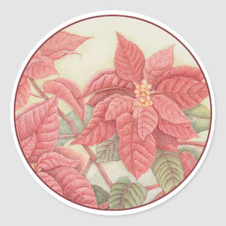 Poinsettia Classic Round Sticker