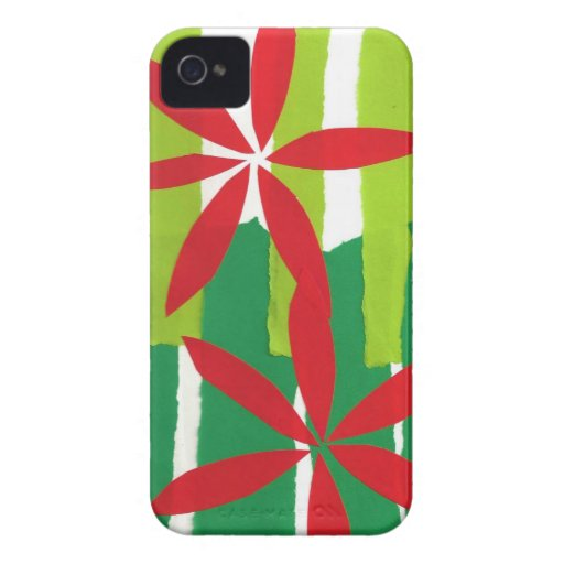 Poinsettia Collage Christmas iPhone 4 Case