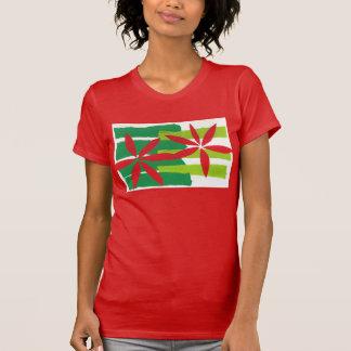 Poinsettia Collage Ladies Christmas T-Shirt