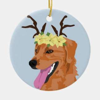 Poinsettia crown  Coonhound  ornament