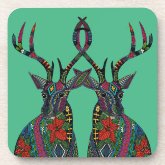 poinsettia deer emerald beverage coaster