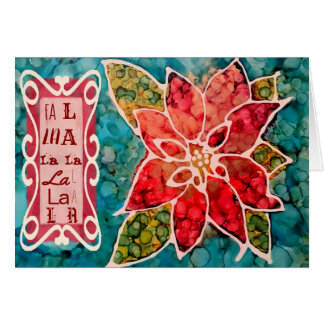 Poinsettia Fa la la Christmas Greetings Card