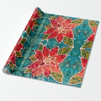 Poinsettia Fa la la Christmas Wrapping Paper