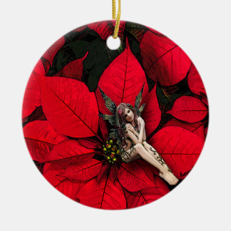 Poinsettia Fairy, Christmas Ornament, Original Art Round Ceramic Decoration