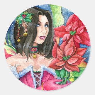 Poinsettia Fairy Small Sticker- Christmas Art Round Sticker
