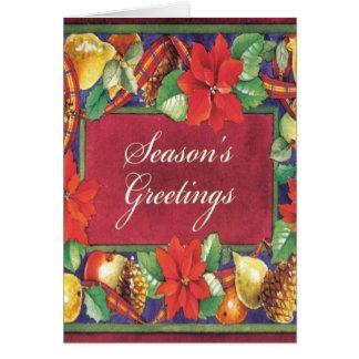 Poinsettia Floral Vintage Christmas Card