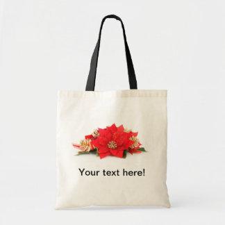 Poinsettia flower Christmas decoration Canvas Bags