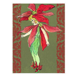 Poinsettia Flower Fairy Postcard
