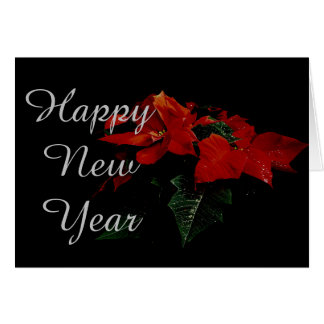 Poinsettia Flower Happy New Year Christmas Family Greeting Card