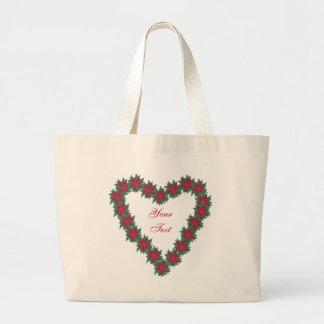 Poinsettia Flowers Heart Shaped Custom Bags