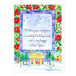 Poinsettia Flowers Merry Christmas Custom Postcard
