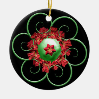 Poinsettia Fractal Christmas Ornament