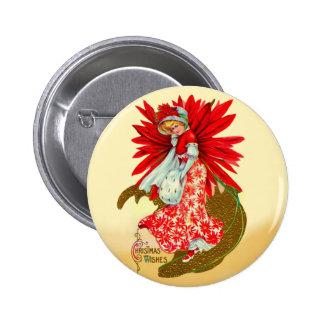 Poinsettia Girl 6 Cm Round Badge