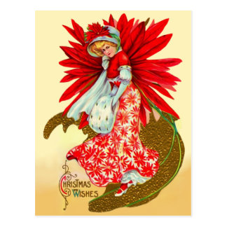 Poinsettia Girl Postcard