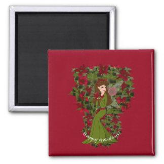 Poinsettia Happy Holidays Faery Magnet