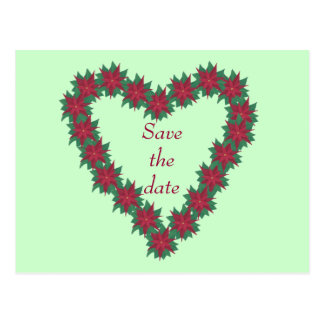 Poinsettia Heart Christmas Save the date Postcards