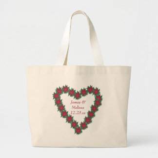 Poinsettia Heart Christmas Wedding Tote Bags