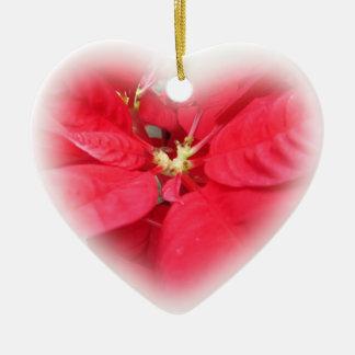 Poinsettia Heart Ornament