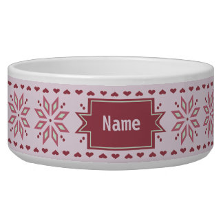 Poinsettia hearts pink pattern custom name