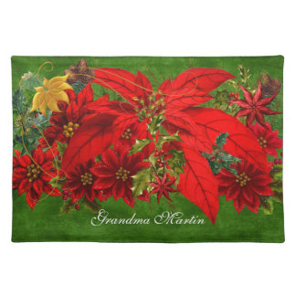 Poinsettia Holiday Bouquet | Christmas Red n Gold Placemats