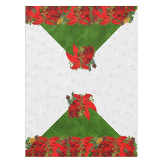 Poinsettia Holiday Bouquet | Christmas Red n Gold Tablecloth