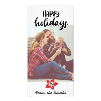 Poinsettia Holiday Card - Add your own photo Photo Card Template