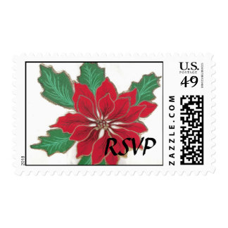 Poinsettia Holiday RSVP Postage