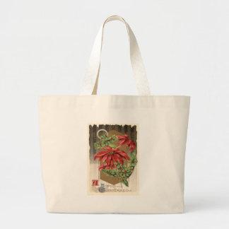 Poinsettia Holly Anchor Nautical Jumbo Tote Bag