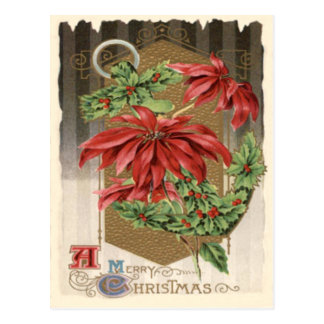 Poinsettia Holly Anchor Nautical Postcard