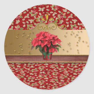 Poinsettia in Flower Pot with Sprinkles Round Stickers