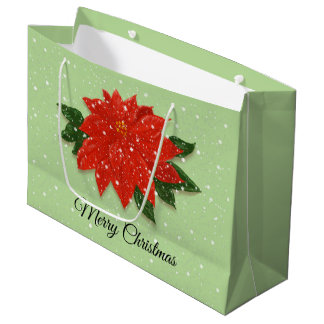 Poinsettia in the snow large gift bag