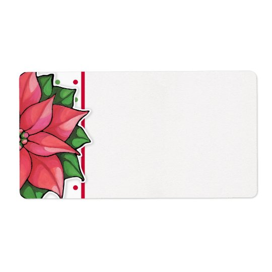 Poinsettia Joy dots Shipping Label