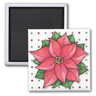 Poinsettia Joy dots Square Magnet
