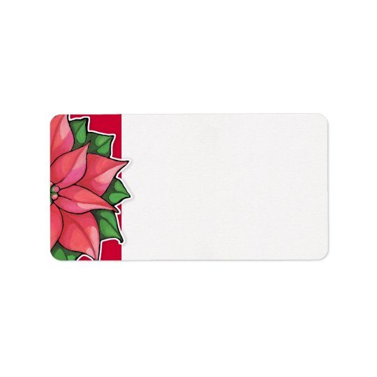 Poinsettia Joy red Address Label