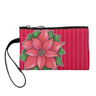 Poinsettia Joy red Key Coin Clutch Coin Wallets
