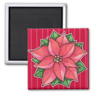 Poinsettia Joy red Square Magnet