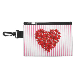 """Poinsettia Love* Heart_Stripes_Clip-On Accessory Accessory Bags"