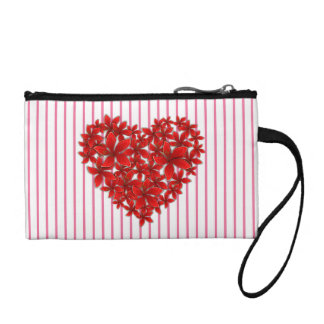 """Poinsettia Love* Heart_Stripes_Key_Coin_Purse Change Purses"