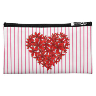 """Poinsettia Love* Heart_Stripes_Med_Cosmetic Bag Makeup Bag"