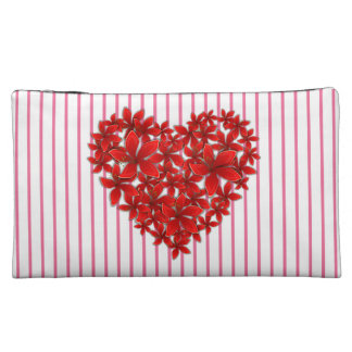 """Poinsettia Love* Heart_Stripes_Medium Sueded Makeup Bag"