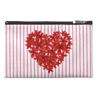 """Poinsettia Love* Heart_Stripes_Travel Bag_Purse Travel Accessory Bags"
