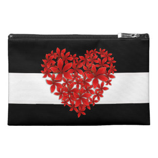 """Poinsettia Love* Heart_Travel Bag_Purse Travel Accessory Bag"