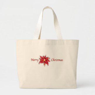Poinsettia Merry Christmas Canvas Bags