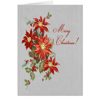 Poinsettia Merry Christmas Greeting Card