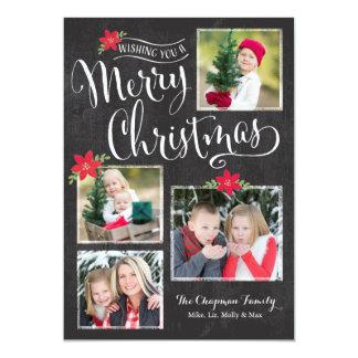 Poinsettia Merry Christmas Photo Card