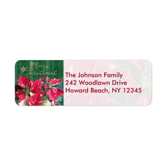 Poinsettia Merry Christmas Return Address Labels