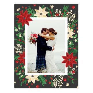 Poinsettia & Mistletoe - Christmas Wedding Photo Postcard